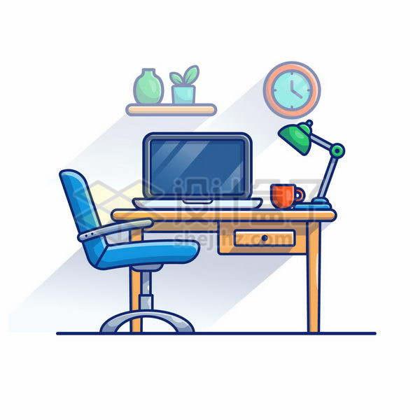 MBE风格木头桌子上的笔记本电脑和转椅png图片免抠矢量素材
