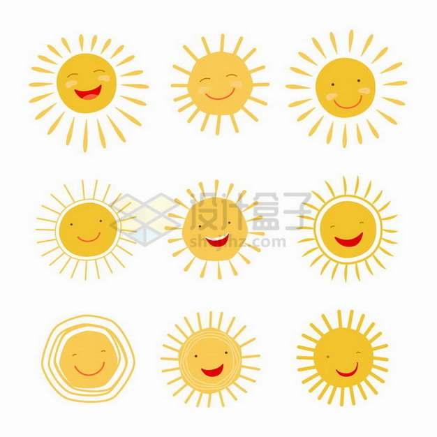 9款手绘黄色卡通太阳表情包儿童画png图片素材