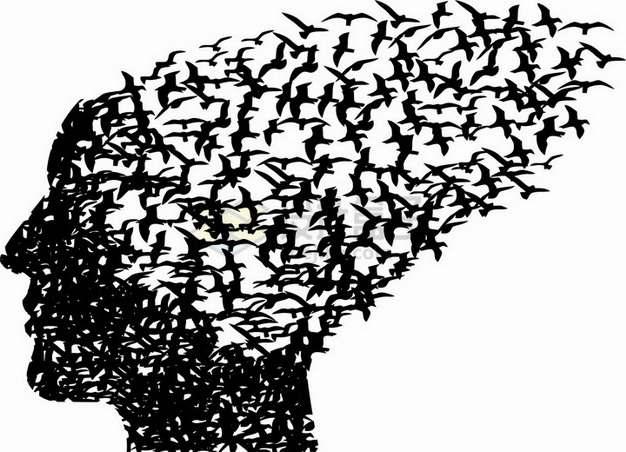 黑色鸟儿剪影组成的人体头部脑袋图案png图片素材