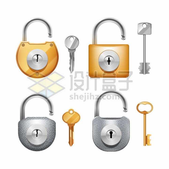 4款橙色和银灰色的挂锁和钥匙png图片素材