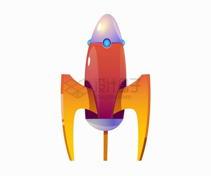 红色橙色的卡通小火箭png图片素材