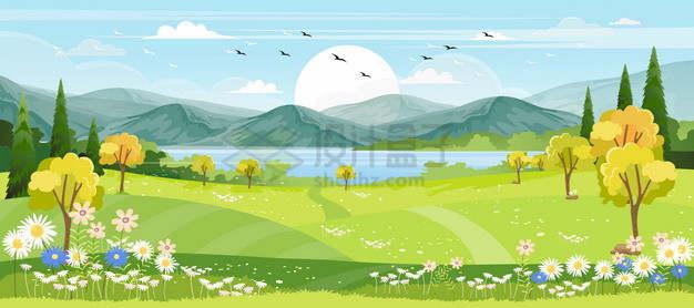 远处的高山湖泊和近处的草原草地和大树风景插画png图片素材
