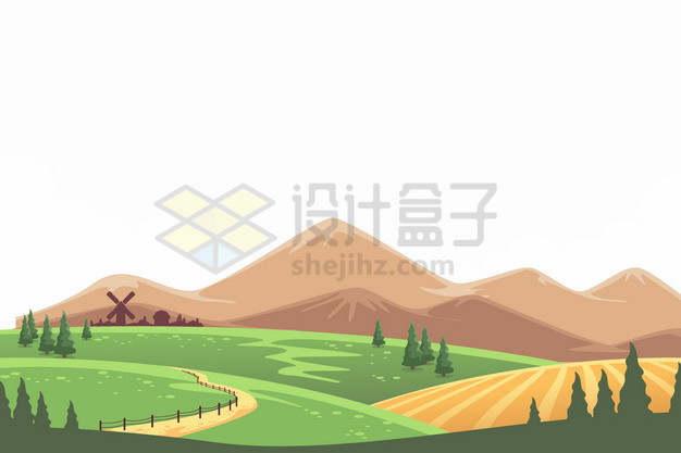 远处的高山近处的草场草原田野农村乡村风景插画png图片素材