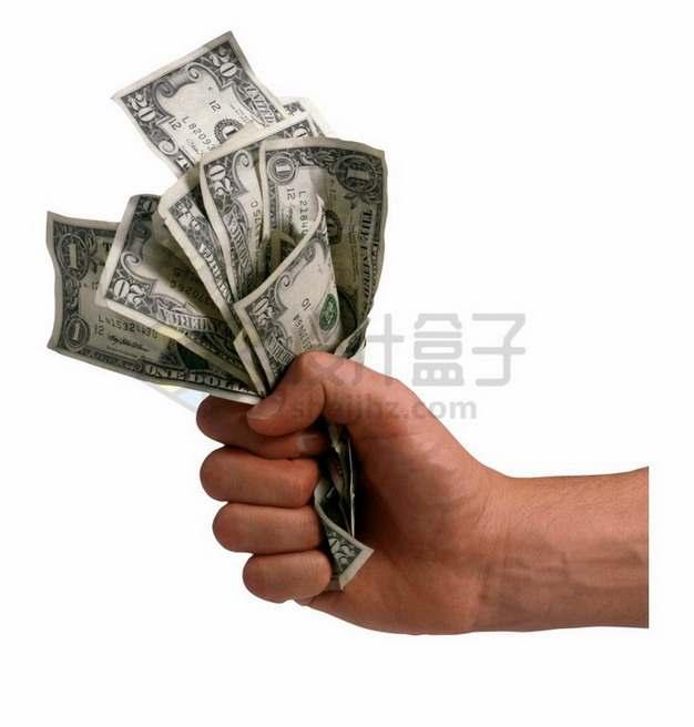 一只手抓着一把美元钞票纸币png图片素材