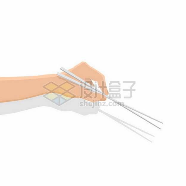 扁平化风格错误筷子的错误拿法png图片免抠矢量素材