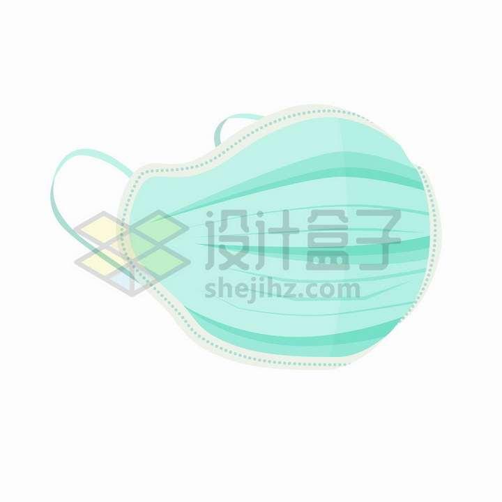 绿色带缝边虚线的一次性医用口罩png图片免抠矢量素材