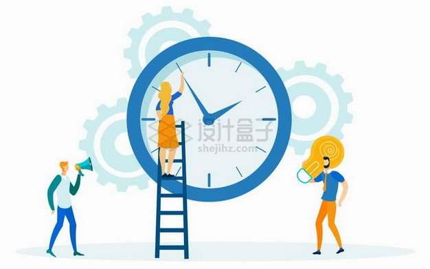 爬梯子拨弄时钟指针的商务人士png图片素材