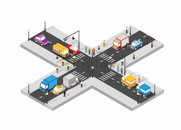 2.5D风格交通繁忙的十字路口道路马路街道png图片素材