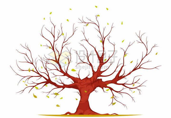 一棵树叶掉光了的红色大树png图片免抠矢量素材