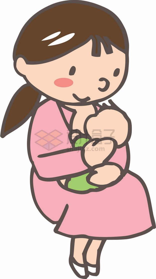 卡通手绘哺乳期妈妈全国母乳喂养宣传日723185png图片素材