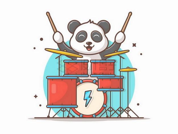 MBE风格正在玩架子鼓的卡通熊猫png图片免抠矢量素材 休闲娱乐-第1张