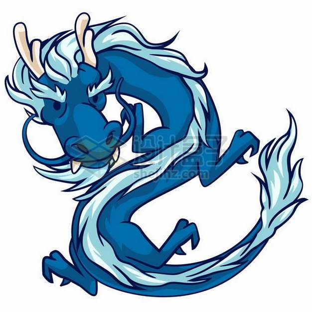 一款卡通蓝色中国龙png图片免抠矢量素材