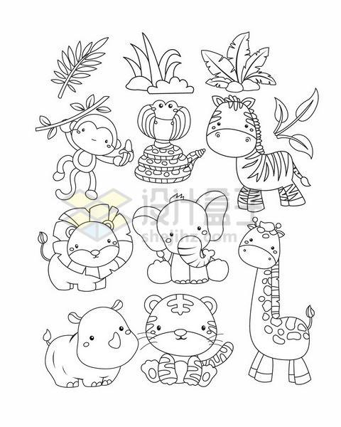 卡通猴子斑马狮子大象犀牛老虎和长颈鹿等简笔画动物png图片免抠矢量素材 生物自然-第1张