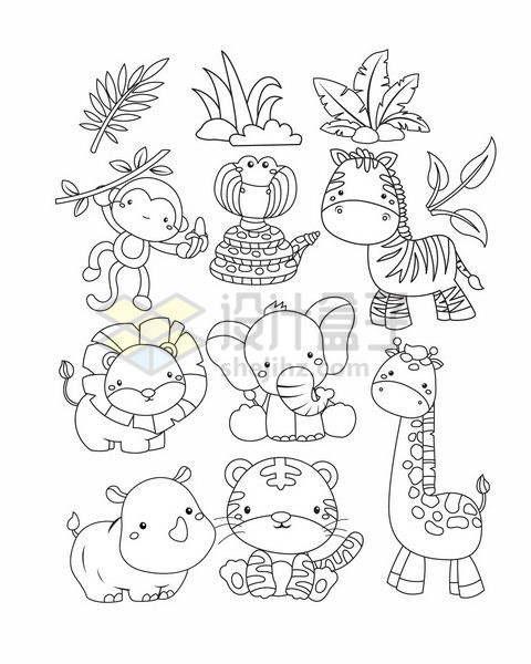 卡通猴子斑马狮子大象犀牛老虎和长颈鹿等简笔画动物png图片免抠矢量素材