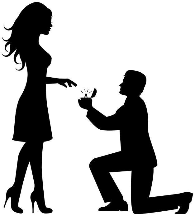 单膝下跪给未婚妻戒指求婚情侣剪影png图片素材