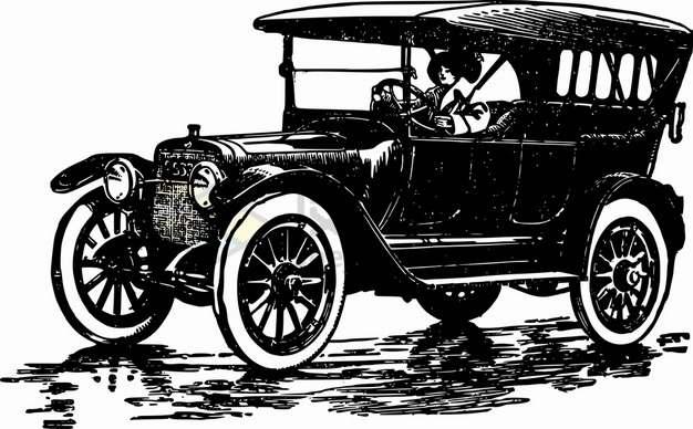素描风格复古汽车祖先png图片素材