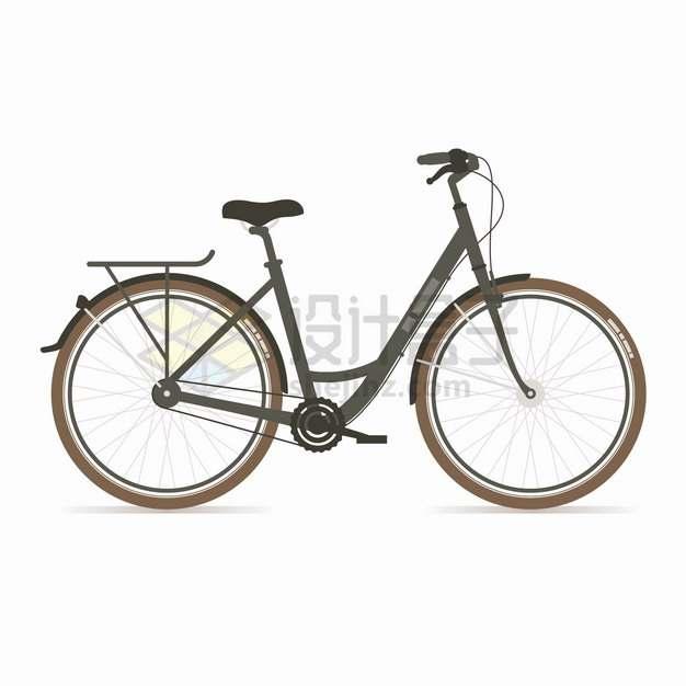 黑色的女式自行车侧面图扁平化风格png图片素材