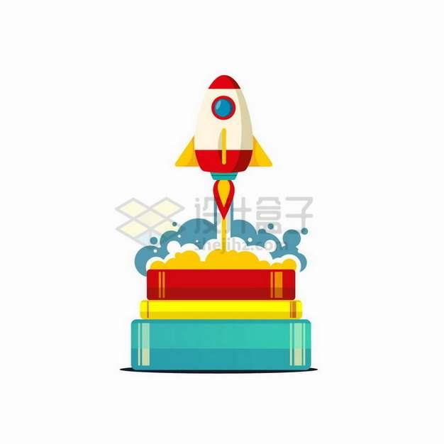 书本上发射起飞的小火箭png图片免抠矢量素材