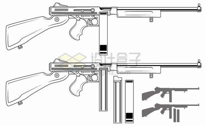 黑色线条弹鼓步枪轻武器png图片免抠矢量素材
