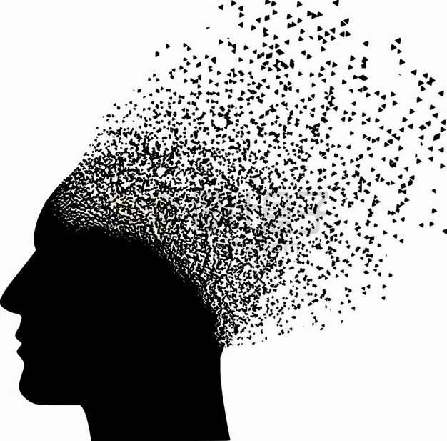 黑色三角形组成的破碎的人体头部脑袋图案png图片素材