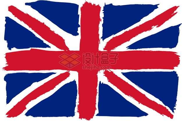 斑驳涂鸦风格的英国米字旗国旗图案png图片素材