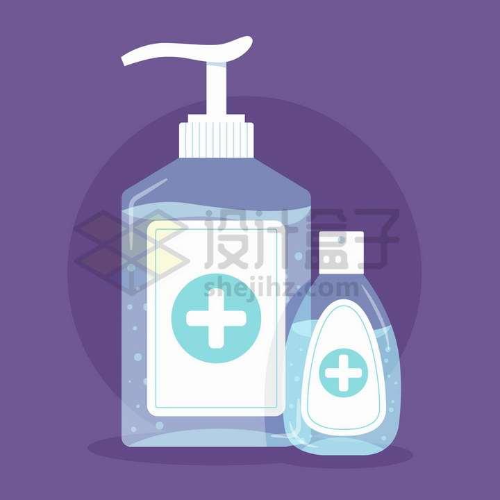 蓝色半透明的洗手液瓶子png图片免抠矢量素材