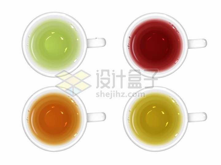 4款绿茶红茶青茶白茶黄茶等茶杯俯视视角png图片素材