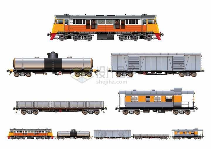 金属风格的货运火车头和油罐车散货车厢等png图片素材