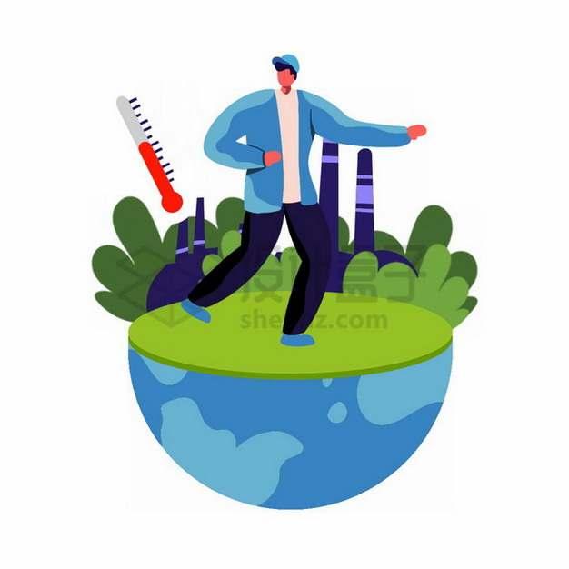 半球形地球上的温度计全球气候变暖主题插画png免抠图片素材