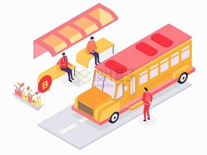 2.5D风格公交站台等候公交车png图片素材