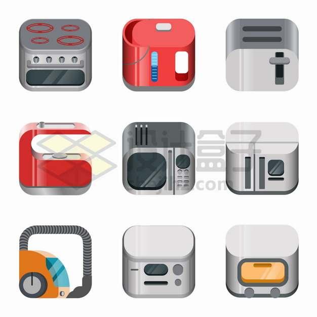 9款电烤箱饮水机面包机咖啡机微波炉电冰箱吸尘器等厨房电器图标png图片素材