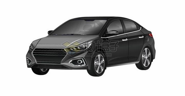 一辆黑色的小汽车轿车png图片免抠矢量素材 交通运输-第1张