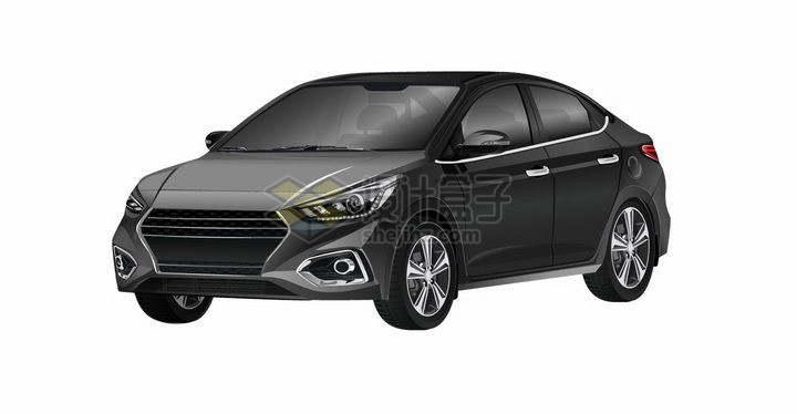 一辆黑色的小汽车轿车png图片免抠矢量素材