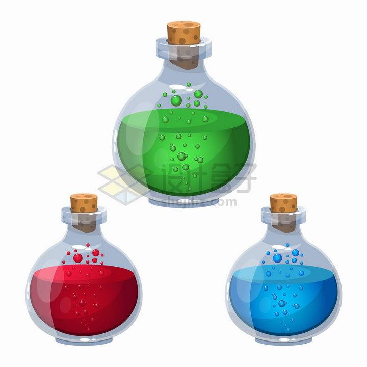 3种颜色的神器药水卡通瓶子png图片素材