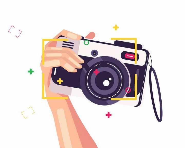 扁平化风格拿着照相机拍照的手png图片免抠矢量素材