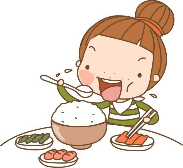 卡通女孩大口吃饭png图片素材