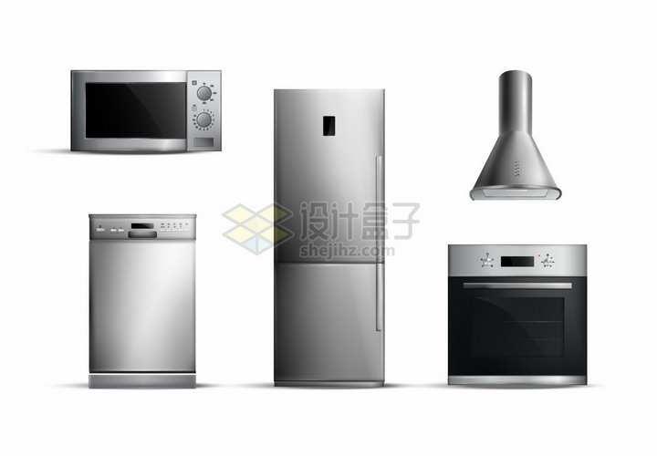 微波炉电烤箱电冰箱抽油烟机洗碗机等厨房电器png图片素材