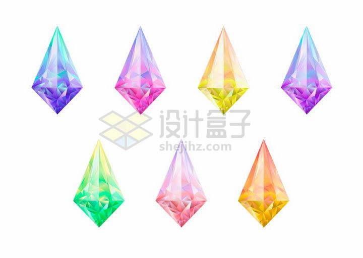 7款闪亮的多边形钻石宝石png图片免抠矢量素材
