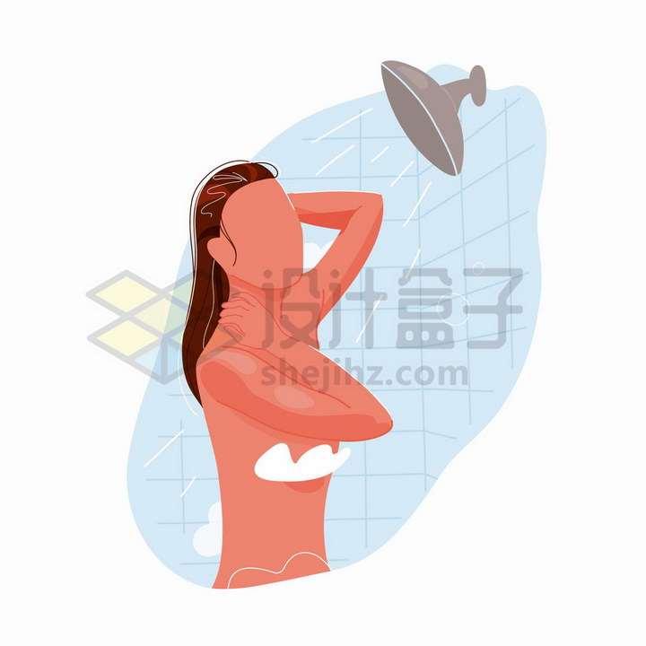 正在洗澡的女人手绘扁平插画png图片免抠矢量素材