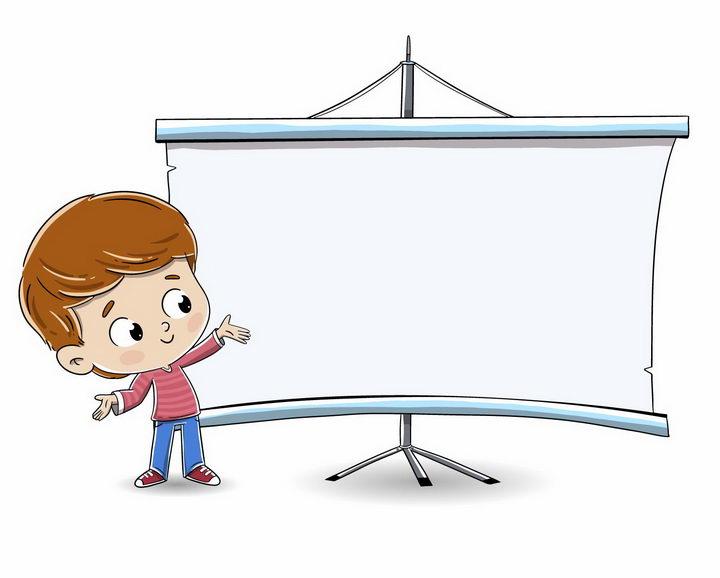 卡通小男孩向你展示的空白卷轴文本框png图片免抠矢量素材 教育文化-第1张