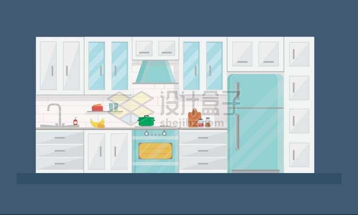 厨房橱柜煤气灶电冰箱等扁平化风格png图片素材