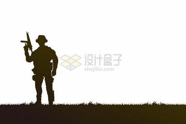 举着步枪的士兵战士剪影png图片免抠矢量素材