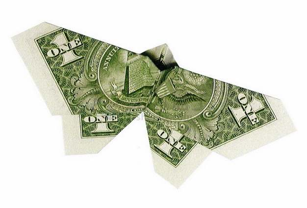 1美元钞票纸币折叠的纸飞机纸鸟png图片素材