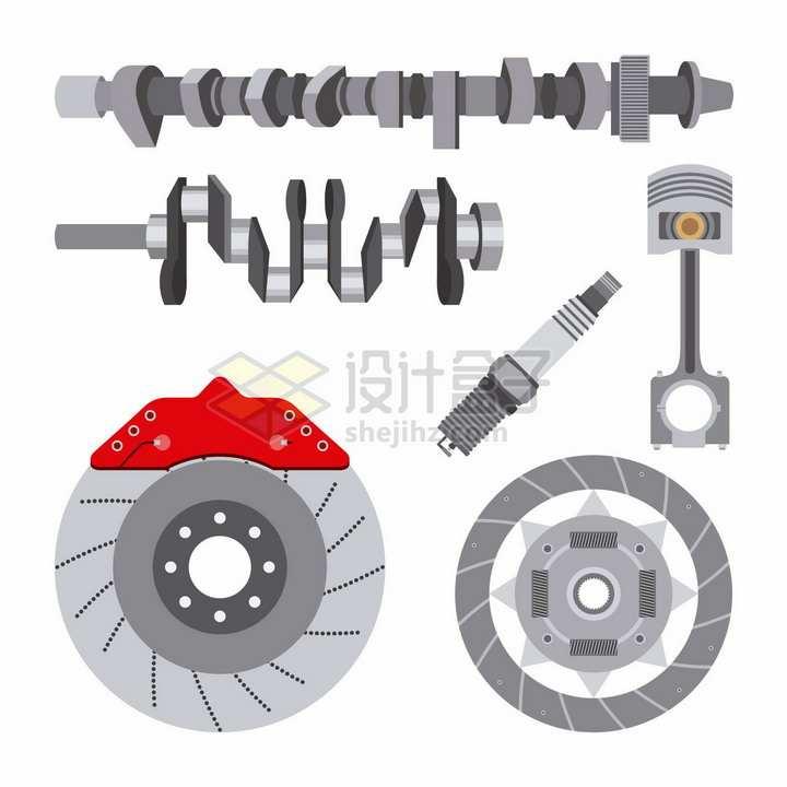 汽车刹车卡钳电火花塞发动机曲轴等汽车配件png图片素材
