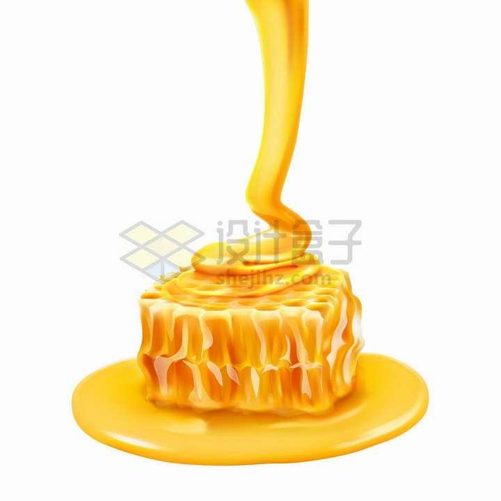 金黄色的液体蜂蜜在蜂巢上流淌美味蜜汁png图片免抠矢量素材