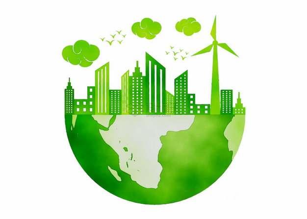 半个绿色地球上的城市风车环境保护主题插画png图片素材