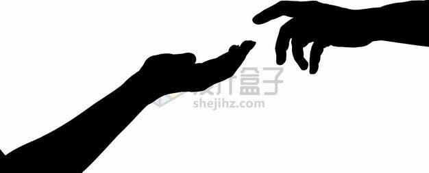 《创世纪》油画中的两只手手指相触剪影png图片素材