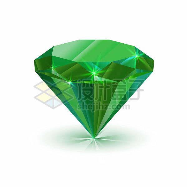 自带光泽的绿色切割钻石宝石png图片免抠矢量素材