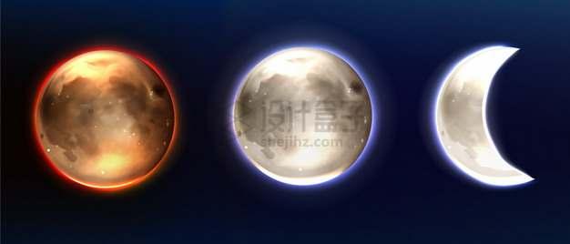 三款逼真的月亮月球满月和弯月图案png图片素材