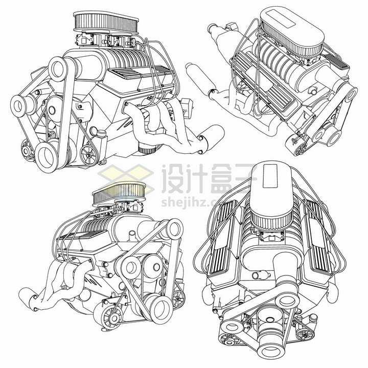 4款汽车发动机引擎手绘线条设计草图54542png图片素材